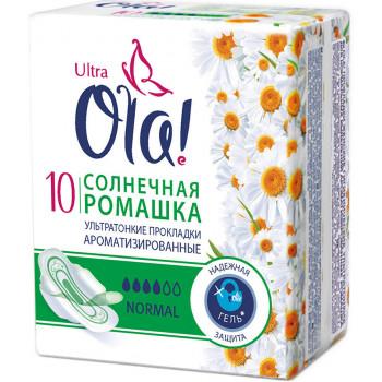 Ola normal гигиенические прокладки, солнечная ромашка, 4 капли, 10шт (32266)