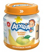 Агуша пюре фруктовое яблоко-банан, 6 месяцев, 115 гр  (04170)