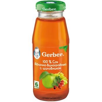 Gerber сок яблочно-виноградный с шиповником, с 6 месяцев, 175мл (04760)