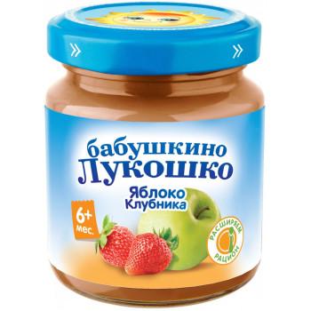 Бабушкино Лукошко пюре, яблоко и клубника, с 6 месяцев, 100гр (00564)