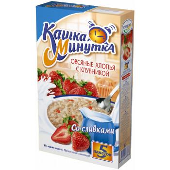 Кашка Минутка каша овсяная с клубникой, со сливочным вкусом, 5 пакетов, 215гр (73387)