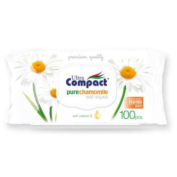 Compact салфетки влажные, с Ромашкой, 100шт (32543)