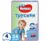 Huggies #4 подгузники-трусики 9-14 кг, для мальчика, 34шт (44007)