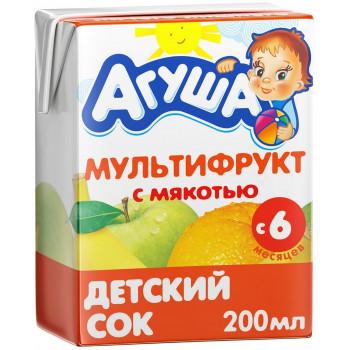 Агуша сок, мультифрукт с мякотью, с 6 месяцев, 200мл (00530)