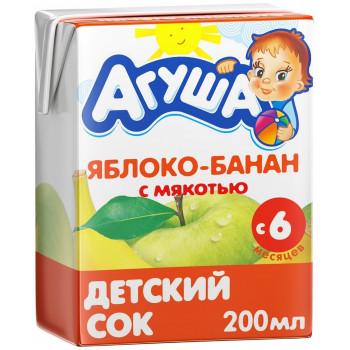 Агуша сок, яблоко и банан с мякотью, с 6 месяцев, 200мл (00516)