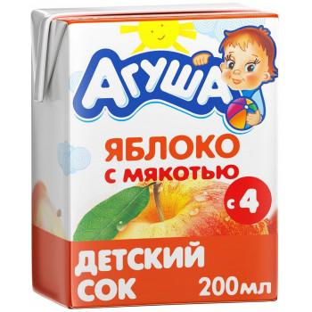 Агуша сок, яблоко с мякотью, с 4 месяцев, 200мл (03005)
