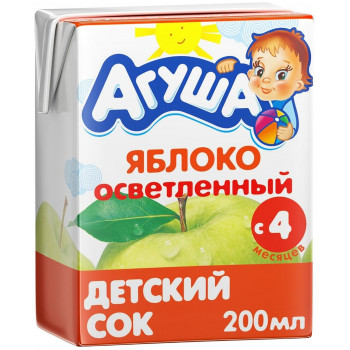 Агуша сок, яблоко осветленный, с 4 месяцев, 200мл (02985)