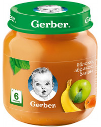 Gerber пюре, яблоко, абрикос и банан, с 6 месяцев, 130гр (72387)