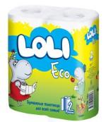 Loli Eco бумажные полотенца, 2 рулона, 2 слоя, 90 отрывов в рулоне (00153)