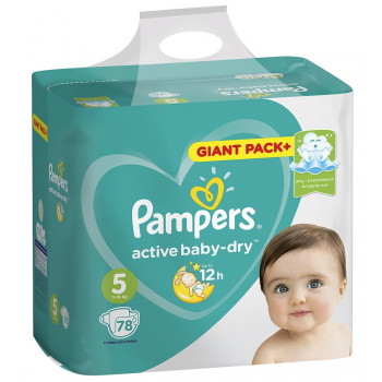 Pampers active baby dry подгузники  #5, 11-16 кг, 78шт (59169)