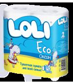 Loli eco туалетная бумага, 4 рулона, 2 слоя, 150 отрывов в рулоне (00108)