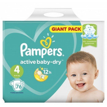 Pampers active baby dry #4 подгузники, 9-14 кг, 76шт (65222)