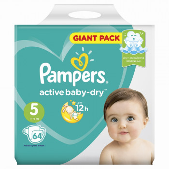 Pampers active baby dry#5 подгузники, 11-16 кг, 64шт (65628)