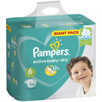 Pampers active baby dry #6 подгузники, 13-18кг, 56шт (36424)