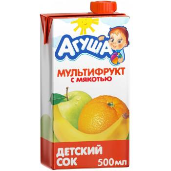 Агуша сок, мультифрукт с мякотью, от 3 лет, 500мл (03005)