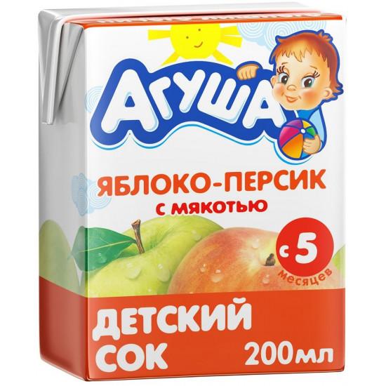 Агуша сок, яблоко и персик с мякотью, с 5 месяцев, 200мл (02961)