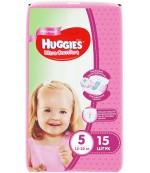 Huggies ultra comfort #5 подгузники 12-22 кг, для девочек, 15шт (43581)