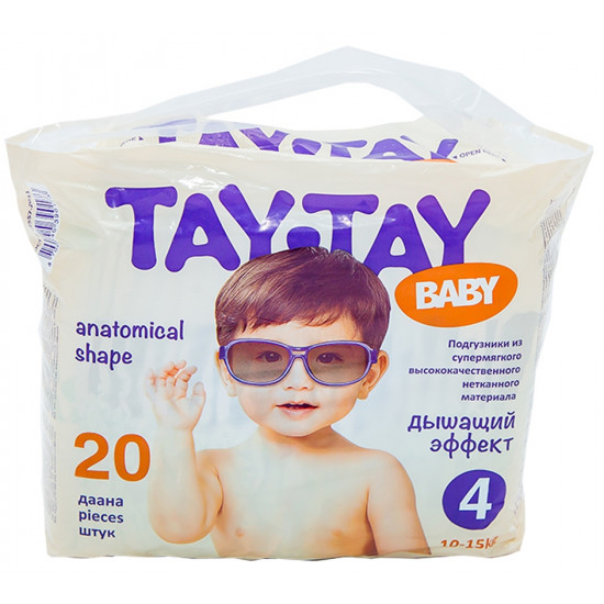 Tay-Tay Baby подгузники #4, 10-15 кг, 20шт (90173)