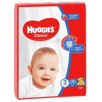Huggies classic подгузники #3, 4-9 кг, 78шт (43116)