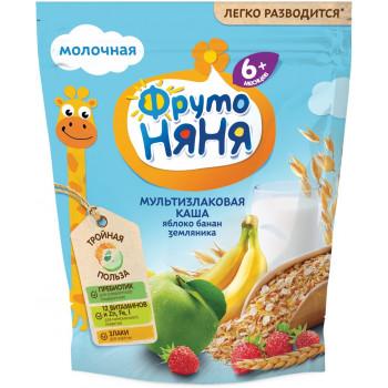 Фруто няня мультизлаковая каша, яблоко, банан и земляника, с 6 месяцев, 200гр (07557)