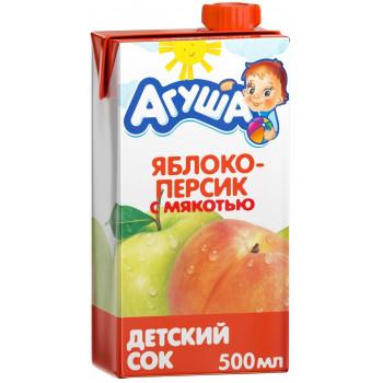 Агуша сок, яблоко и персик с мякотью, от 3 лет, 500мл (02978)