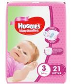 Huggies ultra comfort #3 подгузники 5-9 кг, для девочек 21шт (43543)