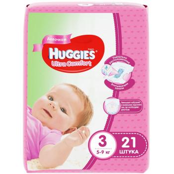 Huggies ultra comfort подгузники для девочек #3, 5-9 кг, 21шт (43543)