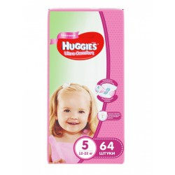 Huggies ultra comfort, #5 подгузники 12-22 кг, для девочек, 64шт (43703)