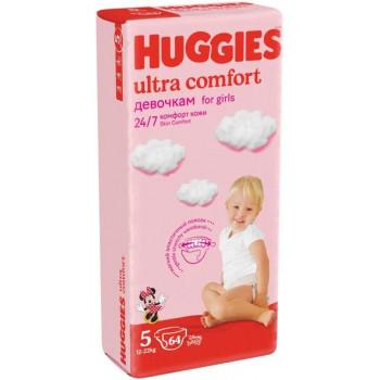 Huggies ultra comfort подгузники для девочек #5, 12-22 кг, 64шт (43703)