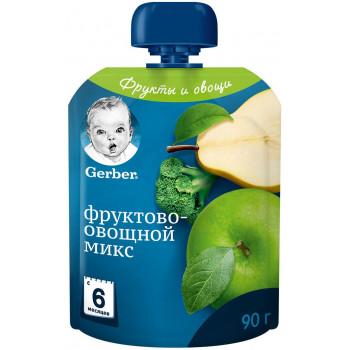 Gerber пюре сашет, фруктово-овощной микс, с 6 месяцев, 90гр (62614)