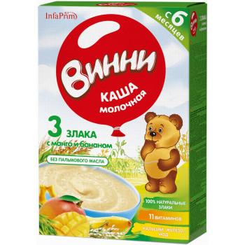 Винни каша 3 злака с манго и бананом, с молоком, с 6 месяцев, 200гр (04879)