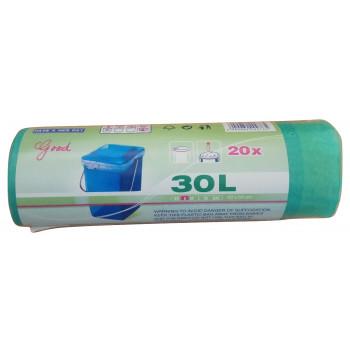 Пакеты для мусора, с затяжками, 30л*20шт (00765)