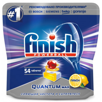 Finish Powerball таблетки для посудомоечных машин, Quantum Max Лимон, 54шт (90342)