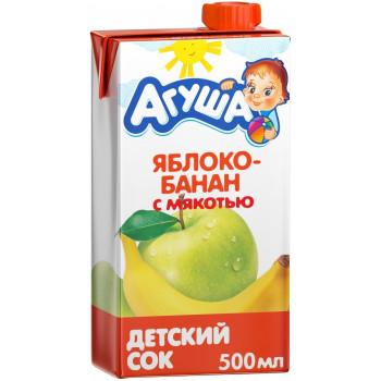 Агуша сок, яблоко и банан с мякотью, от 3 лет, 500мл (02992)
