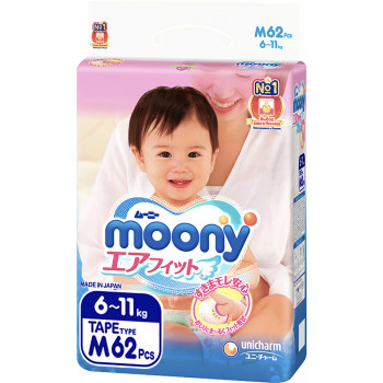 Moony подгузники #3 M, 6-11кг, 62шт (43976)