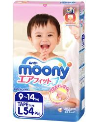 Moony подгузники #4 L, 9-14кг, 54шт  (80230)