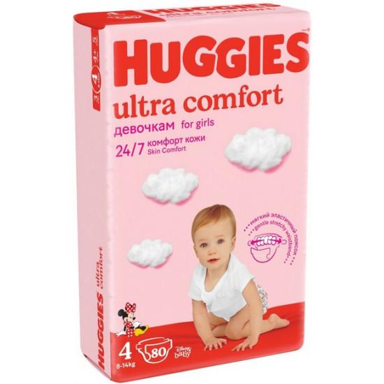 Huggies ultra comfort подгузники для девочек #4, 8-14 кг, 80шт (43680)
