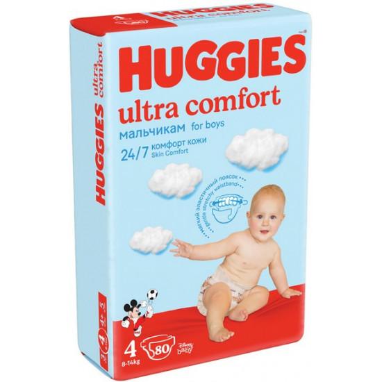 Huggies ultra comfort подгузники #4, 8-14 кг, для мальчиков, 80шт (43673)