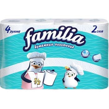Familia бумажные полотенца, 4 рулона, 2 слоя, 90 отрывов в рулоне (00266)