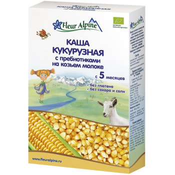 Fleur Alpine каша кукурузная с пребиотиками, на козьем молоке, с 5 месяцев, 200гр (01641)
