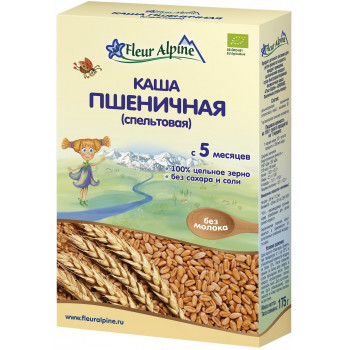 Fleur Alpine каша пшеничная спельтовая, без молока, c 5 месяцев, 175гр (32050)