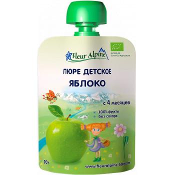 Fleur Alpine пюре сашет, яблоко, с 4 месяцев, 90гр (01017)