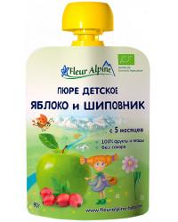 Fleur Alpine пюре сашет, яблоко и шиповник, с 5 месяцев, 90гр (01055)