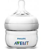 Philips AVENT Natural пластиковая бутылочка для новорожденных, с круглой силиконовой соской, 1 капля - минимальный поток, 0-6 месяцев, 60мл, SCF186/23 (38718)