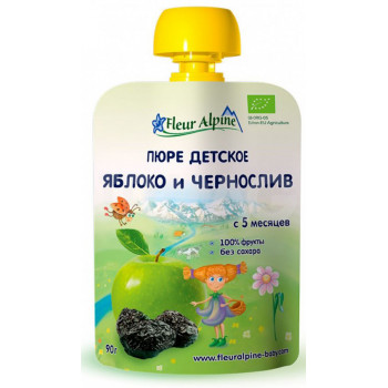 Fleur Alpine пюре сашет, Яблоко и чернослив, с 5 месяцев, 90гр (01048)