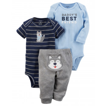 Carters комплект-тройка на мальчика, Daddy's  best friend, размер с 0 мес (126H034)