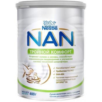 Nestle NAN сухая молочная смесь, Тройной комфорт, с рождения, 400гр (51462)