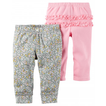 Carters штанишки для девочки, Розовый и в цветочек, 2 шт, размеры с 3+ мес, 6+ мес, 9+ мес (126G072)