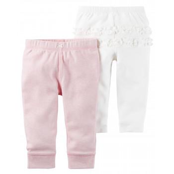 Carters штанишки для девочки, Розовый и белый, 2 шт, размеры 6+ мес, 9+ мес, 12+ мес (126G719)