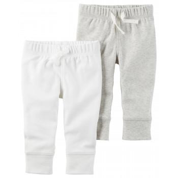 Carters штанишки Unisex, Белый и плющевый, 2 шт, размеры 3+, 6+, 9+ мес (126G721)